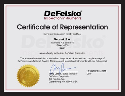 Certificado DeFelsko Neurtek