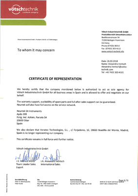Certificado Vötsch Neurtek