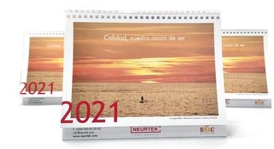 """Remando al atardecer"" portada del Calendario 2021 NEURTEK"