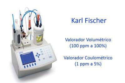 Valorador Karl Fischer para control del contenido de agua en resinas