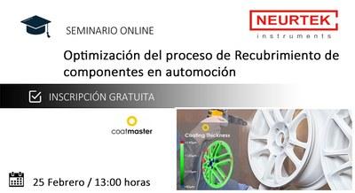 Webinar Gratuita. Optimización del proceso de Recubrimiento de componentes en automoción.