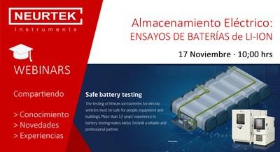 """Webinar Gratuito. """"Almacenamiento Eléctrico: Ensayo de Baterías de Li-ion"""""""